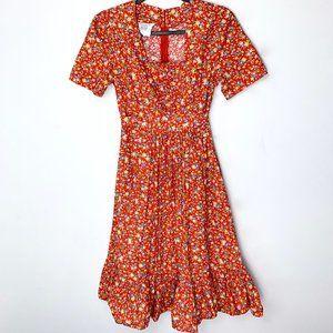 Vintage 1970s Sears Red Floral Prairie Dress